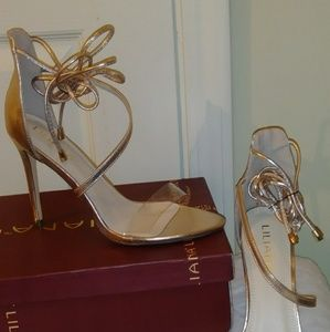 Gold Perspex Strap Up Heel
